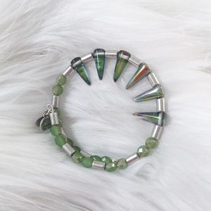 Alex and Ani Green Metallic Spike Wrap Bracelet